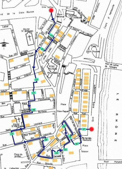 Parcours possible à travers les traboules de Croix Rousse à Lyon.